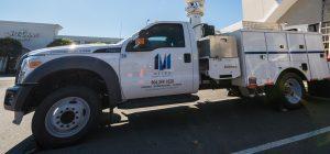 Upclose bucket truck